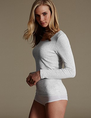 2 Pack Thermal Long Sleeve Pointelle Tops, GREY MARL, catlanding
