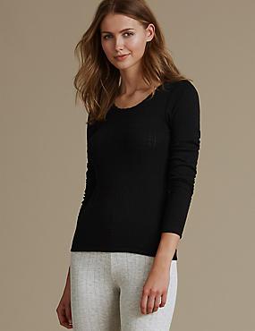 2 Pack Thermal Long Sleeve Pointelle Tops, BLACK, catlanding