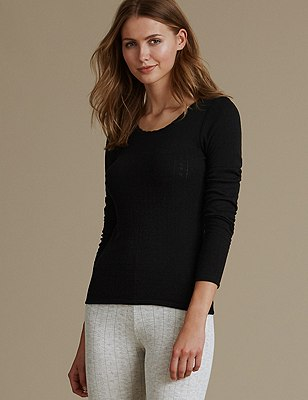2 Pack Thermal Long Sleeve Pointelle Tops, BLACK, catlanding