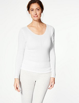 2 Pack Thermal Long Sleeve Pointelle Tops, WHITE, catlanding