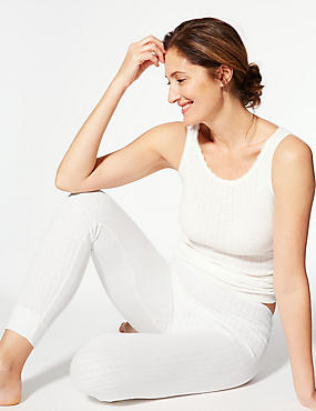 Thermal Ankle Length Leggings, WHITE, catlanding