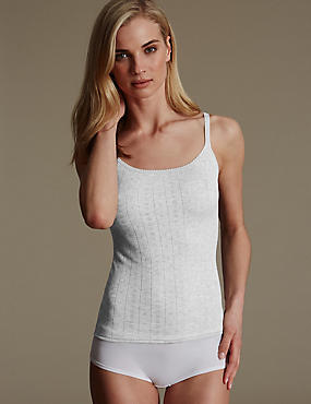 2 Pack Thermal Pointelle Strappy Vests, GREY MARL, catlanding