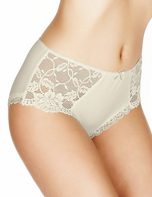 Side Lace High Rise Midi Knickers, LIGHT CREAM, catlanding