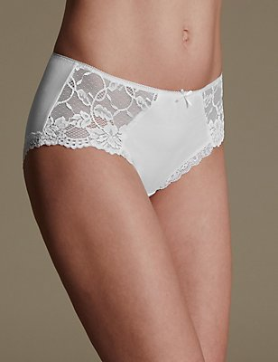 Side Lace High Rise Midi Knickers, WHITE, catlanding