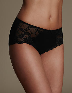 Black Cotton Blend Lace High Rise Midi Knickers