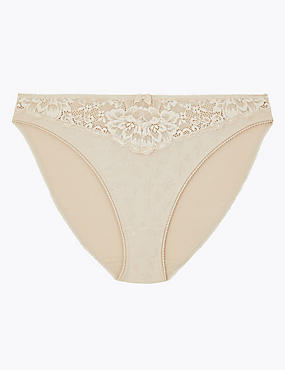 Jacquard & Lace Trim High Leg Knickers, ALMOND, catlanding