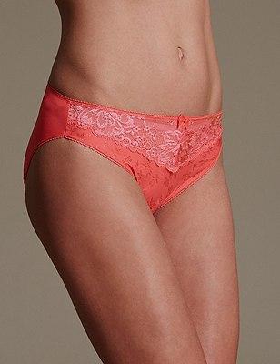 Jacquard & Lace Trim High Leg Knickers, ORANGE SQUASH, catlanding