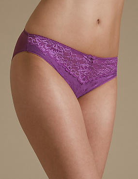 Jacquard & Lace Trim High Leg Knickers, LIGHT MAGENTA, catlanding