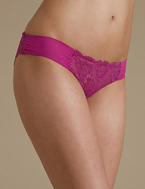 Rio Sweetheart All Over Lace Brazilian Knickers, MAGENTA, catlanding
