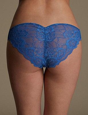 Rio Sweetheart All Over Lace Brazilian Knickers, BRIGHT BLUE, catlanding