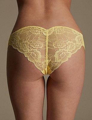 Rio Sweetheart All Over Lace Brazilian Knickers, BRIGHT YELLOW, catlanding