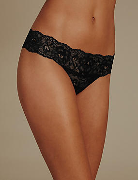 Floral Lace Thong, BLACK, catlanding