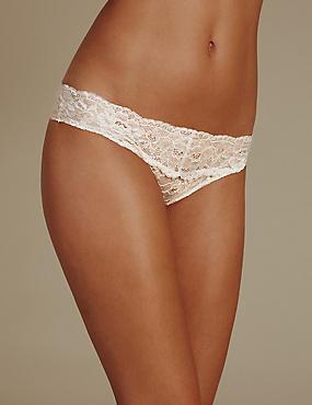 Floral Lace Bikini Knickers, ALMOND MIX, catlanding