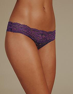 Floral Lace Bikini Knickers, INDIGO MIX, catlanding