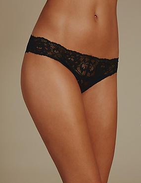 Floral Lace Bikini Knickers, BLACK, catlanding