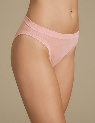 Modal Rich Flexifit Printed High Leg Knickers, SOFT CORAL, catlanding