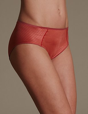 Sumptuously Soft Pinstriped No VPL High Leg Knickers, CORAL MIX, catlanding
