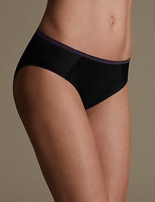 Sumptuously Soft High Leg No VPL Knickers, BLACK MIX, catlanding