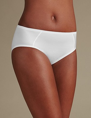 Sumptuously Soft High Leg No VPL Knickers, WHITE, catlanding