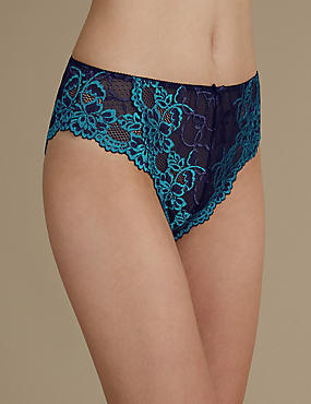 All Over Lace High Rise High Leg Knickers, INDIGO MIX, catlanding