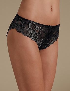 All Over Lace High Rise High Leg Knickers, BLACK/GREY, catlanding