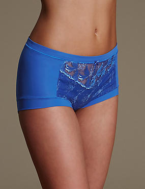 Hibiscus Lace High Rise Shorts, BRIGHT BLUE, catlanding