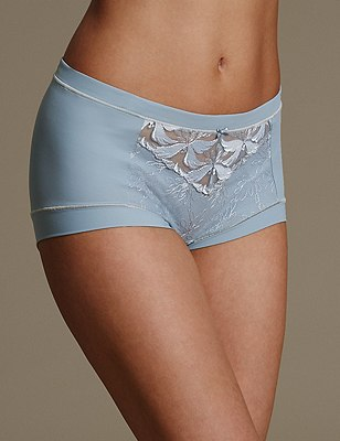 Hibiscus Lace High Rise Shorts, GREY BLUE, catlanding