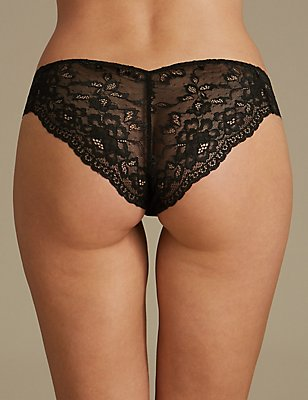 No VPL Lace Brazilian Knickers, BLACK, catlanding