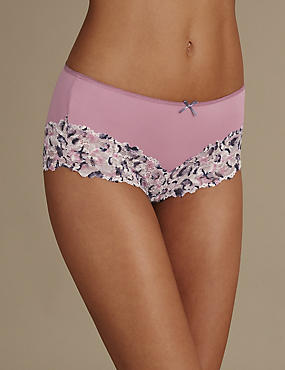 Isabella Lace Printed Midi Knickers, LAVENDER MIX, catlanding