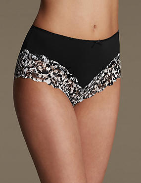 Isabella Lace Printed Midi Knickers, BLACK MIX, catlanding
