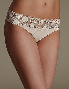 Lace Trim No VPL Thong, ALMOND, catlanding