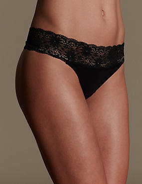 Lace Trim No VPL Thong, BLACK, catlanding