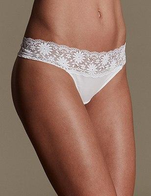 Lace Trim No VPL Thong, WHITE, catlanding