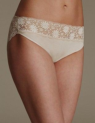 Lace High Leg Knickers, ALMOND, catlanding