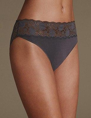 Lace High Leg Knickers, BLACK, catlanding