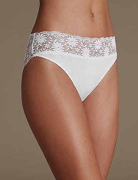Lace High Leg Knickers, WHITE, catlanding