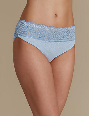 Vintage Lace High Leg Knickers, SMOKEY BLUE, catlanding