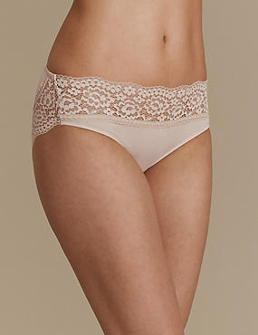 Vintage Lace Cotton Rich High Leg Knickers, ALMOND, catlanding