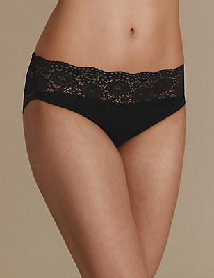 Vintage Lace Cotton Rich High Leg Knickers, BLACK, catlanding