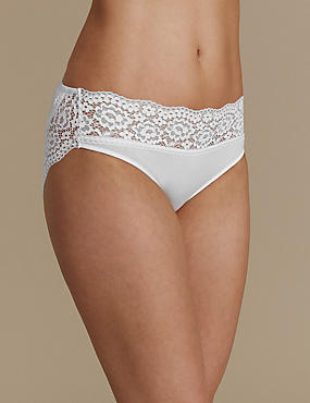 Vintage Lace Cotton Rich High Leg Knickers, WHITE, catlanding