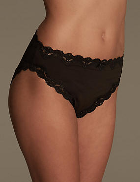 Cut-Out Lace High Leg Knickers, BLACK, catlanding
