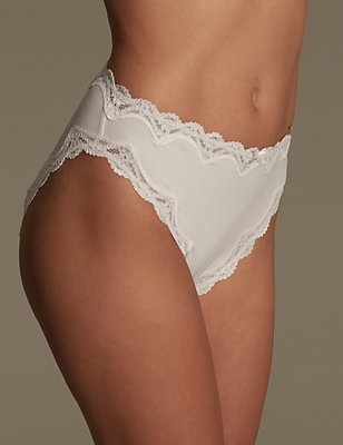 Cut-Out Lace High Leg Knickers, WHITE, catlanding