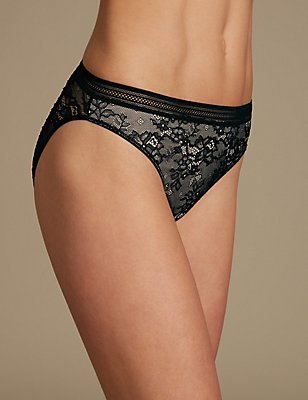 All Over Lace High Leg Knickers, BLACK, catlanding