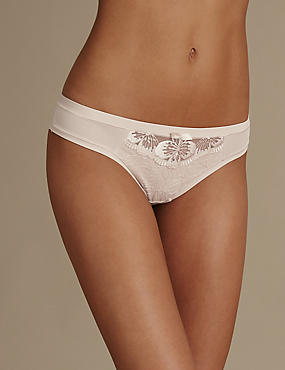 Floral Embroidered Brazilian Knickers, ALMOND, catlanding