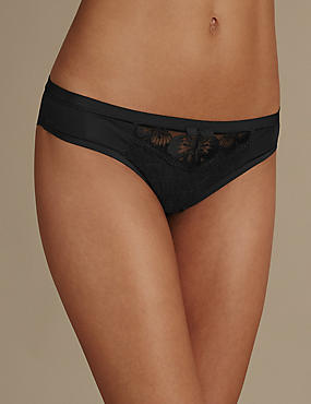 Floral Embroidered Brazilian Knickers, BLACK, catlanding