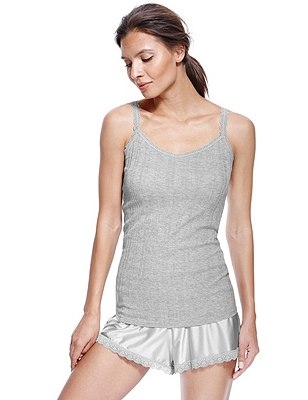Modal Blend Ribbed Vest & Sheen Short Pyjamas, GREY, catlanding
