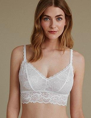 Isabella Lace Bralet, WHITE, catlanding