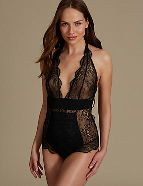 Tie Back Lace Body, BLACK, catlanding