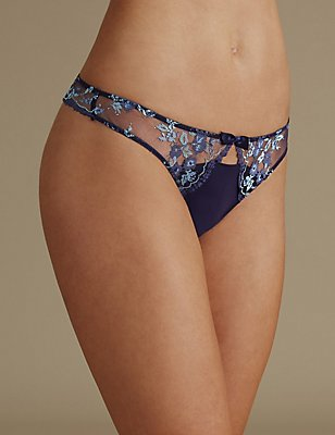 Peekaboo Lace Detailed Thong, INDIGO MIX, catlanding