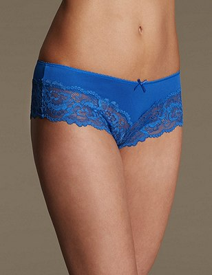 Lace Brazilian Knickers, BRIGHT BLUE, catlanding